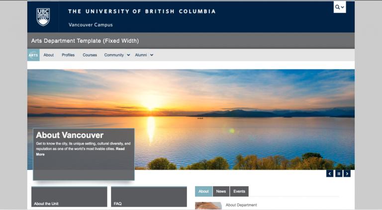 Arts Department Website Template - Fixed Width
