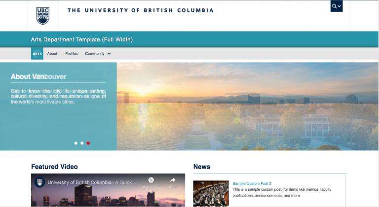 Arts Department Website Template - Full Width