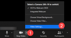 Selecting Video Settings on Zoom